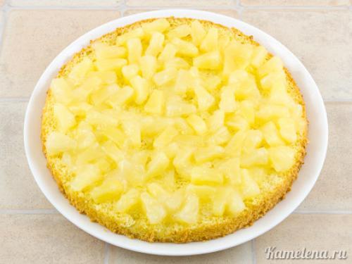 Воздушный торт с ананасами. Приготовление: