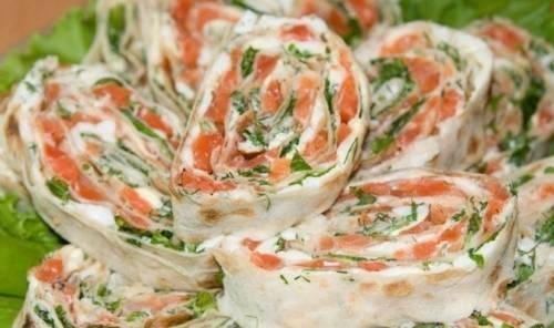 Лаваш с сыром альметте. Рулетики из лаваша с красной рыбой (семгой) и сливочным сыром