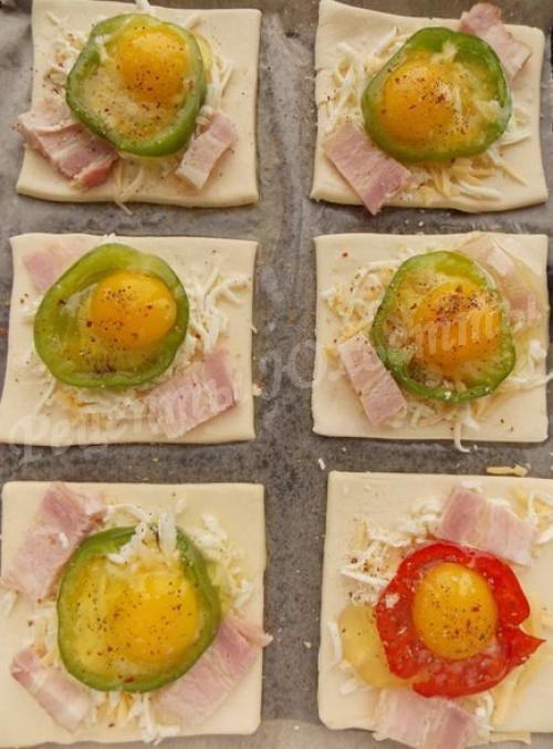 Слойка с ветчиной и сыром и яйцом из слоеного теста. Ингредиенты:
