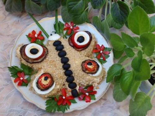 Бабочка из салата. Праздничный салат «Бабочка»