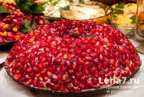 Салат Гранатовый браслет. Салат-закуска «Гранатовый браслет» с сыром и чесноком