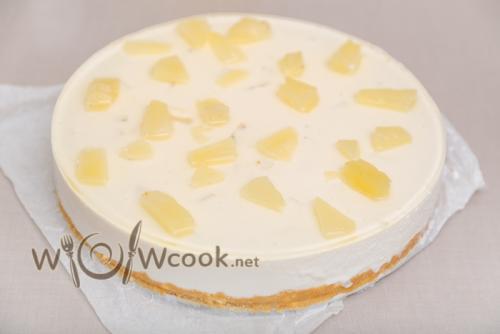 Творожный торт без выпечки с желатином. Творожно желейный торт без выпечки с печеньем и ананасами