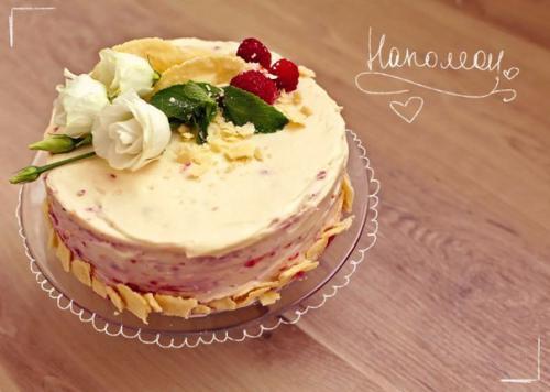 Наполеон с Малиной и заварным кремом. Вкуснейший торт Наполеон с малиной