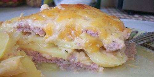 Картофельная запеканка с фаршем в духовке из сырого картофеля без сыра