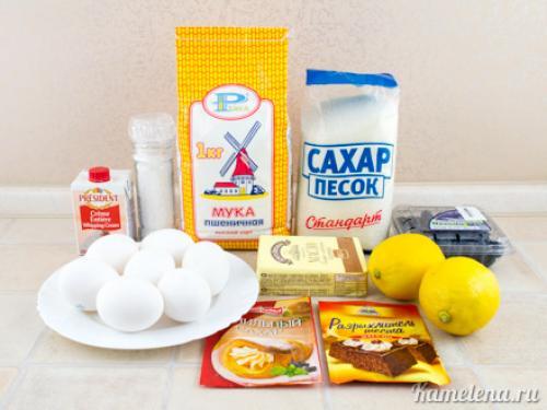 Ангельский бисквит с лимонным кремом. Ингредиенты: