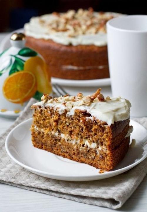 Морковно-апельсиновый торт с грецкими орехами. Морковный торт с грецкими орехами и корицей.