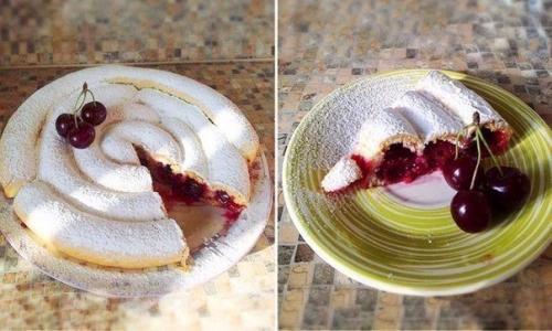 Пирог с вишнями на кефире улитка. Пирог улитка с вишней.