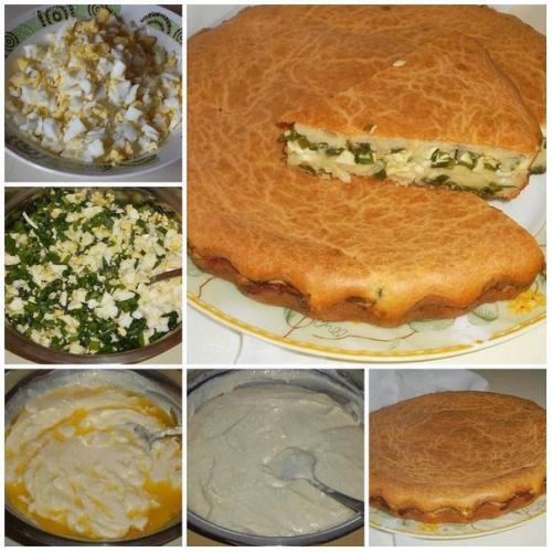 Заливной пирог с зеленым луком и яйцом и рисом. Заливной пирог с зелёным луком и яйцом.