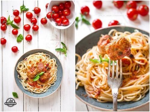 Спагетти с фрикадельками в томатном соусе.