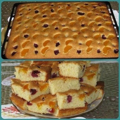 Пирог с фруктами. Пирог на минералке с фруктами.