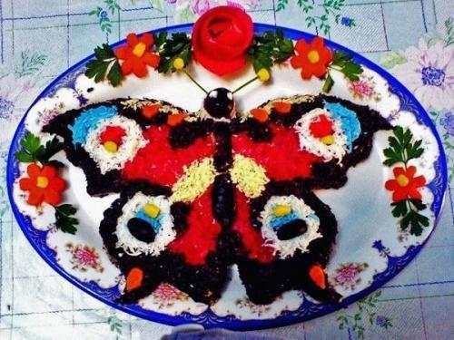 """Салат бабочка. Салаты """"Бабочки"""" и салаты с """"бабочками""""."""