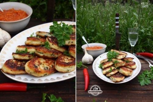 Картофельные котлеты с сыром и зеленью.