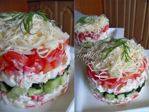 Салаты с помидорами. Подборка 10-ти салатов с помидорами.