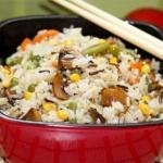Рис с овощами и грибами.