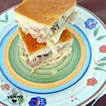 Заливной пирог с сайрой и картофелем.