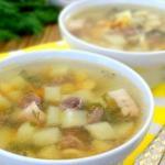 Суп с куриными сердечками и свиной грудинкой.