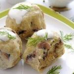 Кнедлики из картофеля с шампиньонами.
