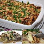 Картофельная запеканка с фаршем и грибами.