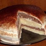 Кефирный торт.  Очень простой в приготовлении и в тоже время вкусный тортик.