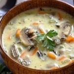Сырный суп с рисом и грибами?