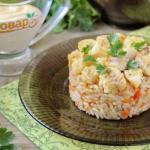 Минтай с рисом в духовке.