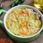 Суп с лапшой и куриными крылышками.