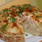 Кабачково - сырный тортик с мясом.