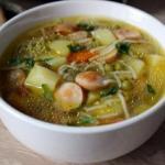 Быстрый суп с сосисками.
