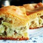 Пирог с капустой из слоеного теста.