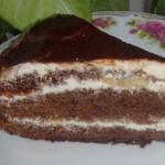 Шоколадно - ореховый торт с бананом.