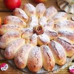 Яблочный пирог.  Отрывной яблочный пирог получается очень ароматный, красивый, нежный и вкусный.