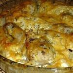 Картофель с куриными ножками в духовке.