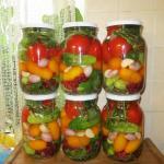 Овощное ассорти.   Сложить огурцы, помидоры, смородину красную, зелень, чеснок.