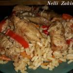 Ароматный рис со свининой и овощами.