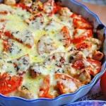 Куриное Филе с овощами и сыром.