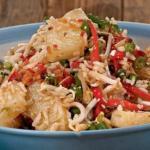 Горячий салат с рисом.