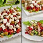 Салат с тунцом, оливками, фетой.
