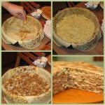 Блинный пирог с курицей и грибами.