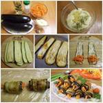 Рулеты из баклажанов с морковкой и чесноком.
