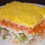 """Салат """"Мимоза"""".  250-300 Грамм рыбных консервов (лосось или сардина в масле);."""