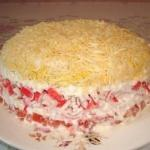 Салат с крабовыми палочками (мясом).