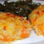 Картофельные котлеты с рисом и морковью.