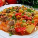 Нежное жаркое из говядины с овощами.