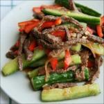 Огурцы с мясом по корейски.
